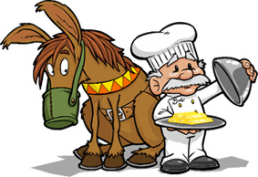Graphic of chef serving food in front of a sitting horse